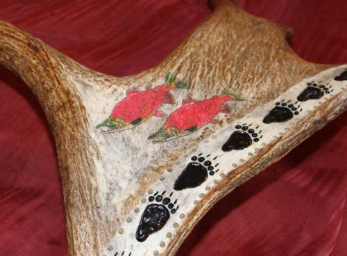 salmon scrimshaw cribbage board
