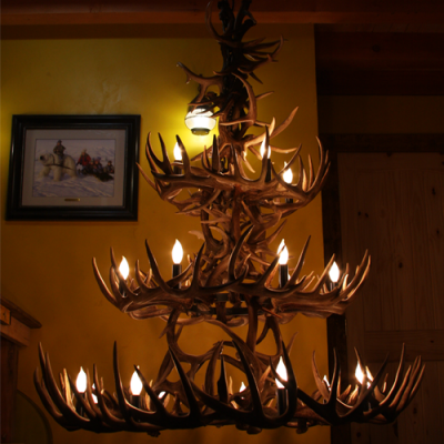 Three Tier Whitetail Deer Antler Chandelier