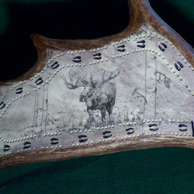 moose scrimshaw cribbage board