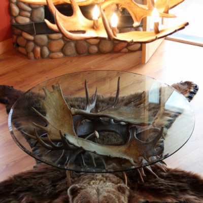 moose antler coffee table midnight sun