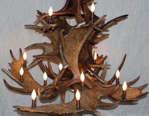 3 tier moose antler chandelier