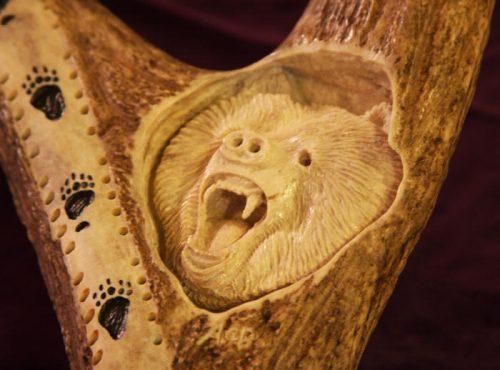 antler bear carving