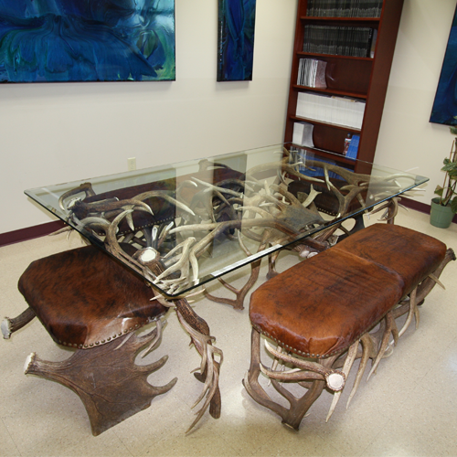 large antler dining table