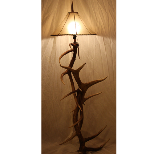 Elk Antler Floor Lamp With Rawhide