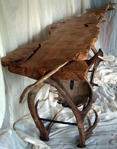 Antler Burl Top Sofa Table Montana Antler Works