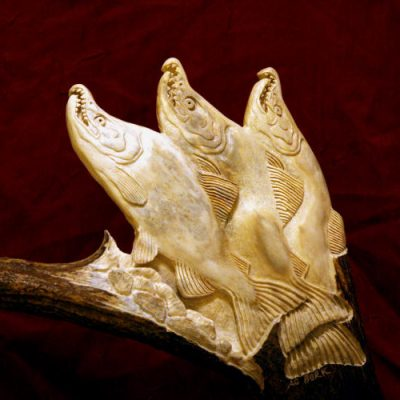 moose antler salmon carving