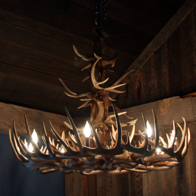 whitetail deer antler chandelier double turn