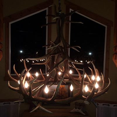 trophy elk antler chandelier