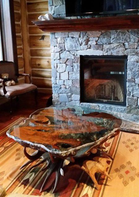 burl top moose antler coffee table