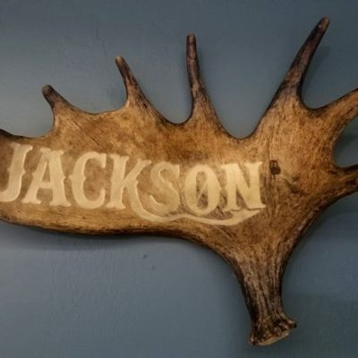 personalized moose antler name carving